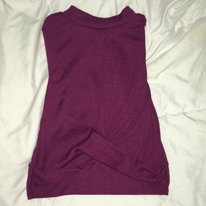 Long Sleeve Ruched Purple Top Flare Sleeves